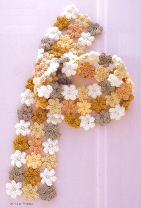 "crochet scarf- pattern for the little ""mollie flowers"" here: http://littlegreen.typepad.com/romansock/2009/04/mollie-flowers-the-tutorial.html"
