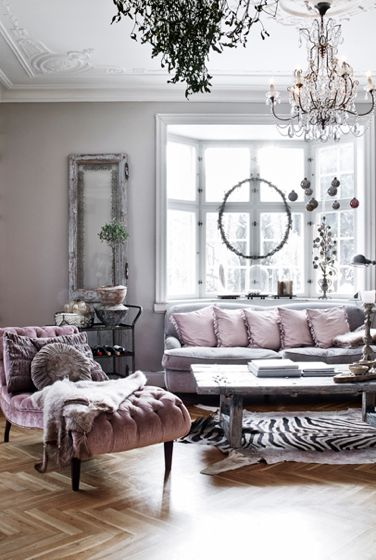 Lavender And Grey Living Room With Bay Window, Tufted Chaise Lounge,  Chevron Parquet Wood Floors, Crystal Chandelier, Black U0026 White Zebra Rug