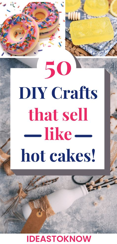 Crafts to Make and Sell for money. The secret to making money is selling crafts with the highest profit margin. Here is a quick list of 50 most profitable, cheap, and easy to do crafts for Make 50 Diy Crafts, Kids Crafts To Sell, Money Making Crafts, Diy Crafts For Adults, Diy Projects To Sell, Diy Crafts To Sell On Etsy, Crafts Cheap, Craft Projects, Paper Crafts