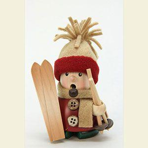 Traditional German Christmas Decoration: Smoker - Ski driver - 11cm / 4 inch