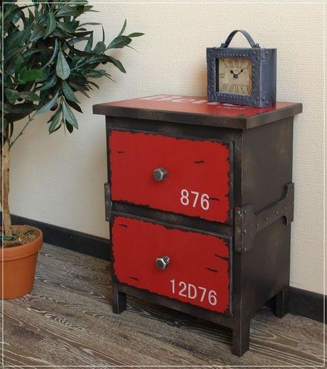 Nachttisch Atelier Loft Kommode Metall Optik Industriedesign Rot
