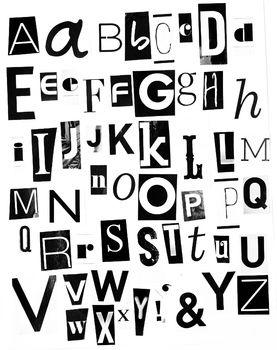 Free Printable Black and White Magazine Letters Alphabet a-z: Mamavonvintage on teachers pay teachers.