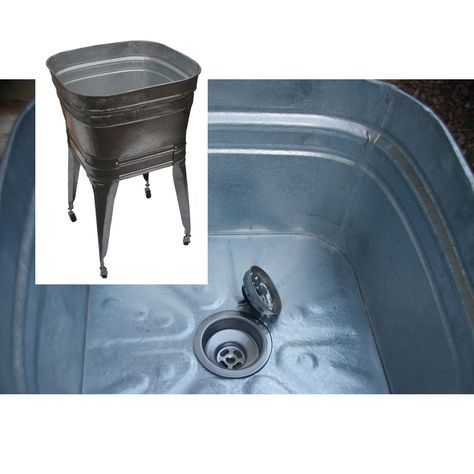Square Wash Tub With Stand Single Or Double In 2020 Galvanized Tub Sink Galvanized Wash Tub Wash Tubs