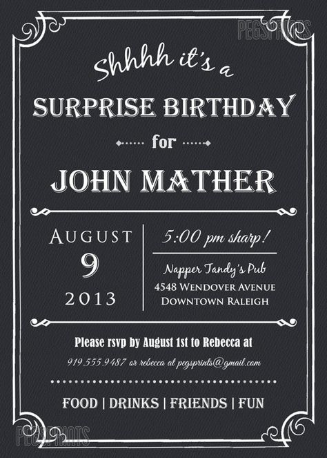 Adult Surprise Birthday Invite Male Birthday by PegsPrints