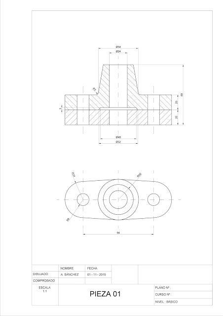 Ejercicios De Autocad 2d Y 3d Conceptos Basicos Linea Circunferencia Recorte Simet Dibujo Tecnico Ejercicios Tecnicas De Dibujo Vistas Dibujo Tecnico
