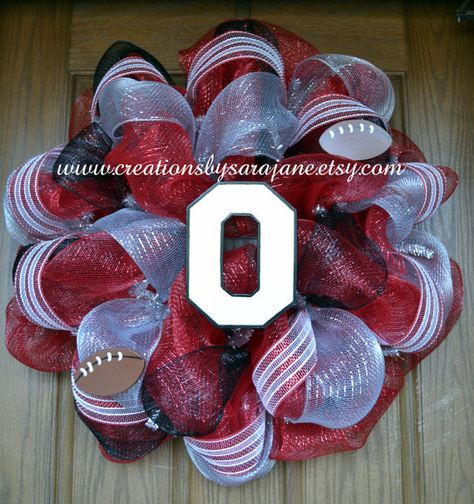 Ohio State University Mesh Wreath - Ohio State Buckeyes Wreath - Collegiate Wreath