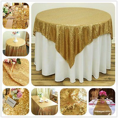 SoarDream 50 inch Round Gold Sequin Tablecloths Sparkle Sequin Linen Tablecloth