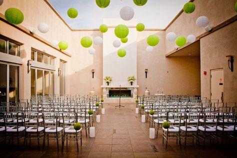 Garden Indoor Ceremony Modern Space Museum Wedding Ceremony Photos