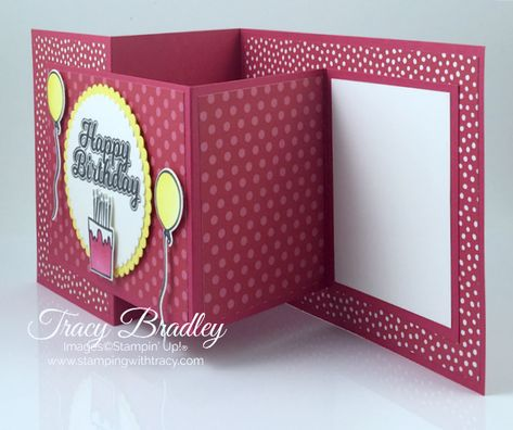 Create this easy Double Z- Fold birthday card featuring the Stampin' Up! stamp set, Blow Out the Candles and the Candles  Confetti Framelits Dies.  Created by Tracy Bradley www.stampingwithtracy.com