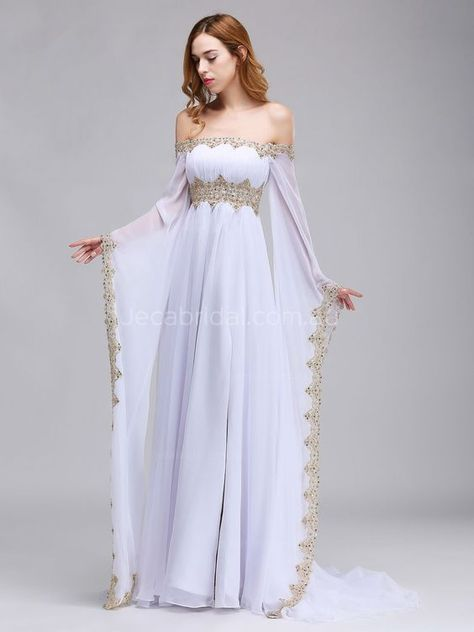 Off The Shoulder Medieval Wedding Dress W1064 - Front 4