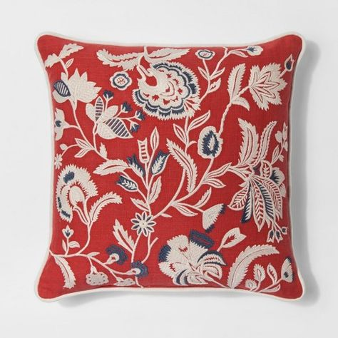 20 Red Jacobean Fl Throw Pillow Threshold Target