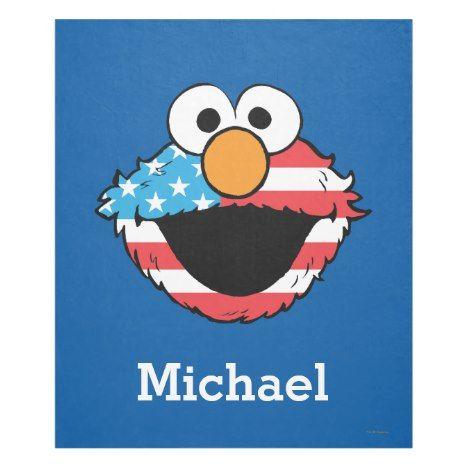 Patriotic Elmo Add Your Name Fleece Blanket Zazzle Com
