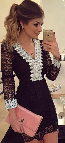 9b79362a4307 Sheer Hollow out Sexy Black Long Sleeve Lace Mini Dresses