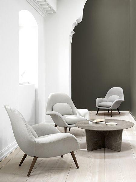 Ronde Design Fauteuil.Fauteuil Swoon Design Space Copenhagen Et Table Basse Ronde