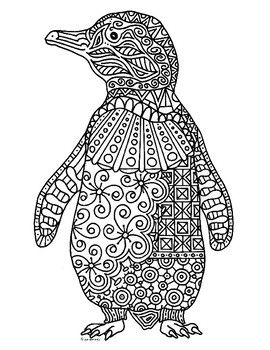 Penguin Zentangle Coloring Page Coloring Pages Penguin Coloring Coloring Books