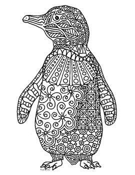 Penguin Zentangle Coloring Page Penguin Coloring Coloring Pages Coloring Books