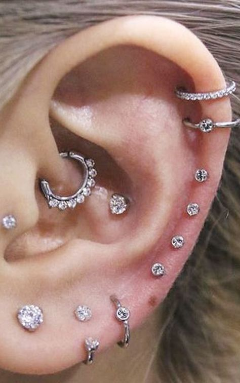 cute multiple ear piercing ideas combinations cartilage helix rook conch crystal earring studs barbells 16g