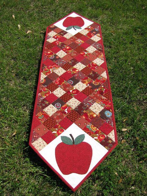 Handmade Reversible Table Runner Quilted Fruit Design 48 Long Apple Cherry Strawberry