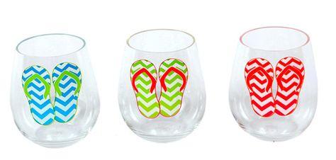 Set of 3 Flip Flop Shatterproof Stemless Wine Glasses   OceanStyles.com