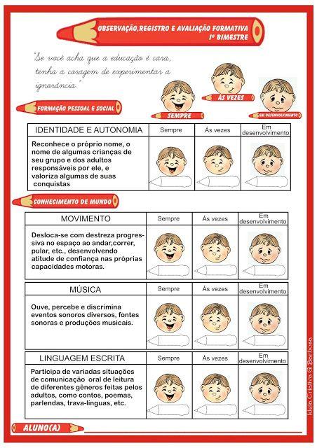 Ficha De Avaliacao Do Aluno Registro De Observacoes Relatorios