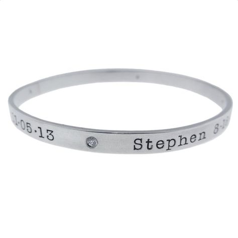 6136b10157a5 Sterling Silver Diamond Bangle Bracelet Personalized Women s Mommy Jewelry  Hand Stamped Names Birth