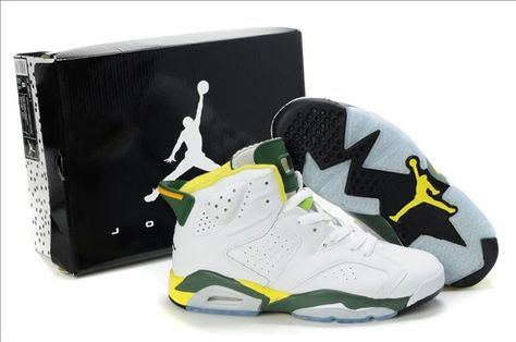 the best attitude 98fbe bace3 NIKE AIR JORDAN 6 RETRO SHOES WHITE YELLOW GREEN