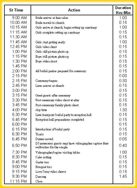 Rundown Template Show Excel For Resume Newlywed Quotes Diy Wedding Favors Wedding Ceremony