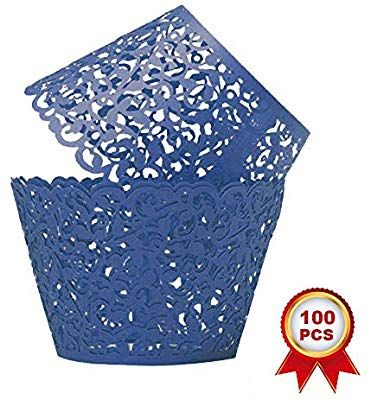 SUYEPER 100pcs Cupcake Wrappers Artistic Bake Cake Paper Cups Little Vine Lace Laser Cut Liner Baking Cup Muffin Case Trays for Wedding Party Birthday Decoration White