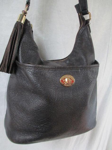 TOMMY HILFIGER Leather Purse Handbag Hobo Bucket Bag BROWN FRINGE M Tassel 9eeffc1aed
