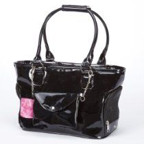 Zack & Zoey Classic Patent Pet Carrier, Teacup, Black