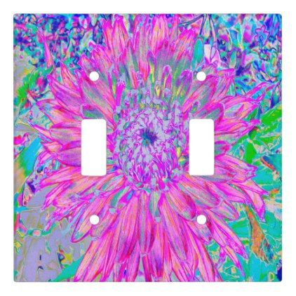 Cool Pink Blue And Purple Cactus Dahlia Explosion Light Switch