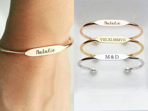 Engraved Bracelet - Rose Gold Silver Gold Engraved Bracelet Bridesmaid Gift Engraved Date Bracelet Engraved Name Bracelet Personalized