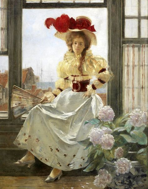Portrait of a Lady by a Window Sill - François Flameng (french painter)