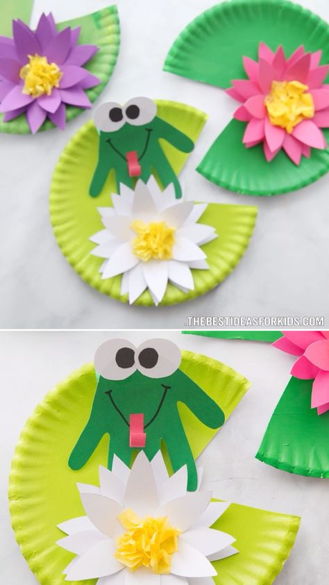 FROG HANDPRINT CRAFT 🐸- such a cute craft for Spring! An easy spring craft for kids that preschool and kindergarten would love too!