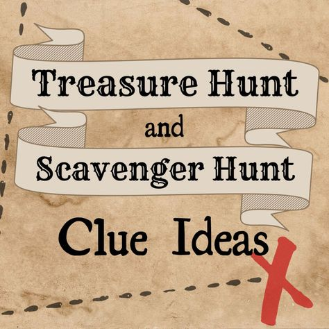 Discover ten types of clues you can use in a treasure hunt or scavenger hunt, from rebuses and mazes to mirror clues and maps! Pirate Scavenger Hunts, Scavenger Hunt Riddles, Easter Scavenger Hunt, Outdoor Scavenger Hunts, Halloween Scavenger Hunt, Christmas Scavenger Hunt, Scavenger Hunt Birthday, Nature Scavenger Hunts, Scavenger Hunt For Kids
