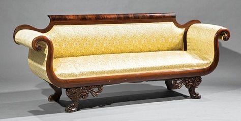 c1830 Classical Empire sofa, attr A Quervelle, Phila, Boor,f215, 89w,35t, mah, 15-2,2.