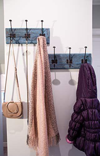 Rustic Wall Mounted Coat Rack With 3 Sturdy Hooks Set Of 2 Wall Mounted Coat Rack Wooden Hangers Wooden Coat Rack