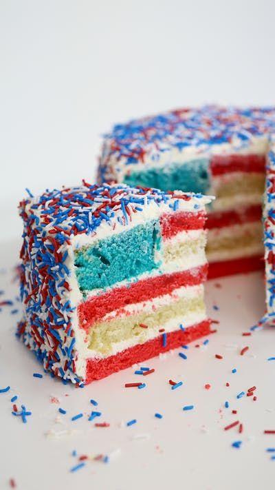 Surprise American Flag Cake Recipe American Flag Cake Flag Cake Vanilla Cake