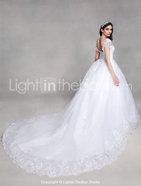 5e15d32ca2 A-line Wedding Dress Vintage Inspired Chapel Train V-neck Lace / Tulle with  Appliques / Sequin / Beading 2017 - $149.99