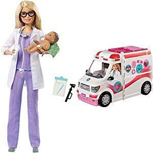 Barbie Frm19 2 In 1 Krankenwagen Aufklappbares Fahrzeug Mit Licht Und Gerauschen Puppen Spielset Mit Zubehor Ma Madchen Spielzeug Spielzeug Ab 3 Jahre Barbie
