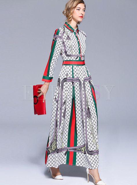 Dresses   Maxi Dresses   Brief Color-blocked Lapel Maxi Dress