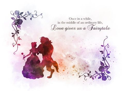 Original Art Print Beauty and the Beast Quote Contemporary Design. collectable fine art print. Ideal Gift. Signed and dated on the back. For sale direct from the artist. 'Once in a while, in the middle of an ordinary life, Loves gives us a Fairytale'. | eBay!