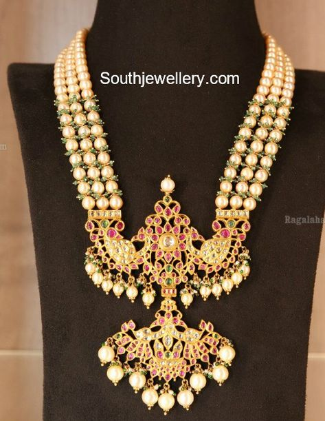 Three line south sea pearl mala with kundan peacock pendant by L Bajrang Pershad Jewellers. pearl mala designs, south sea pearl necklace, pendants for south sea pearls