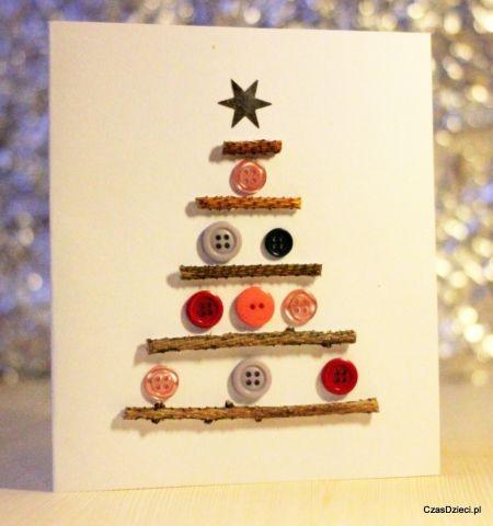 Kartka Swiateczna Z Guzikami Diy Diy Christmas Cards Cards Handmade Christmas Crafts