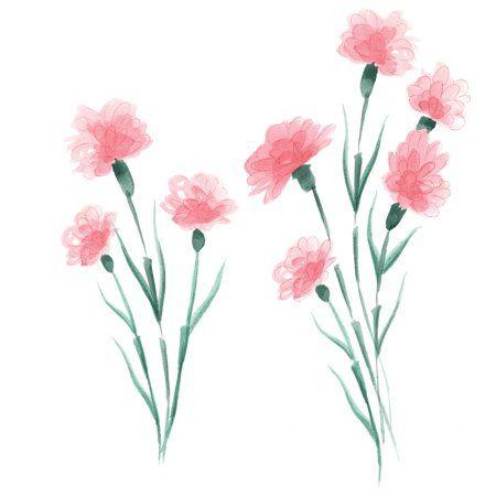 Wallpops What In Carnation Wall Art Kit Walmart Com In 2020 Simple Watercolor Flowers Flower Wall Art Easy Flower Painting