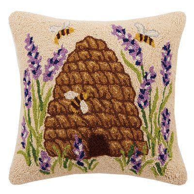 Beehive Lavender Bee Hook 100 Wool Throw Pillow Throw Pillows Pillows Wool Throw Pillows