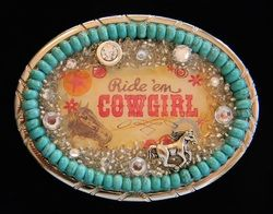 turquoise belt buckle made with stones and charms
