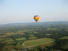 How's this for a bride and groom send off? Sail away in a hot air balloon! Balloons Unlimited, Aldie, VA