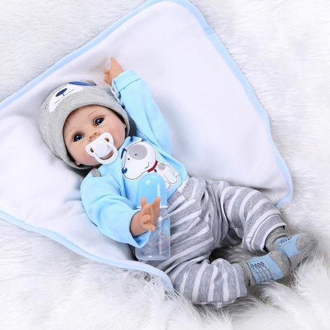 "Boy Doll Baby Lifelike 22/"" Handmade Newborn Reborn Vinyl Clothes Silicone Blue"