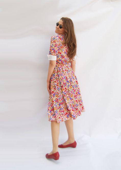 Yellow and Blue Tea Length Summer Dresses